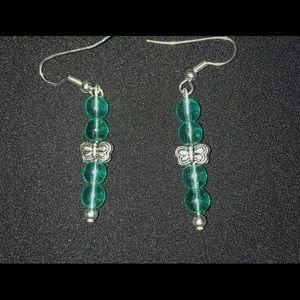 handmade dragonfly dangle earrings